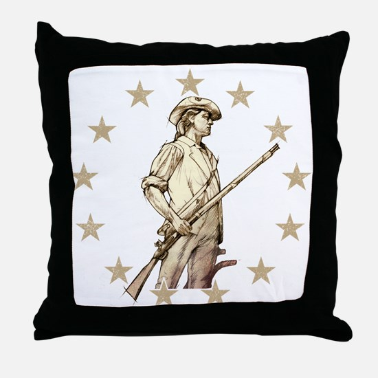 Concord Minuteman Drawing Throw Pillow