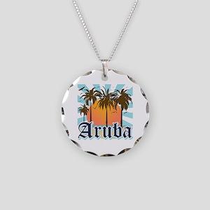 Aruba Caribbean Island Necklace Circle Charm
