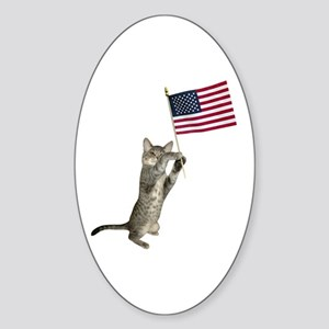 Kitten Flag Sticker (Oval)