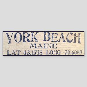 York Beach Lat Long Bumper Sticker