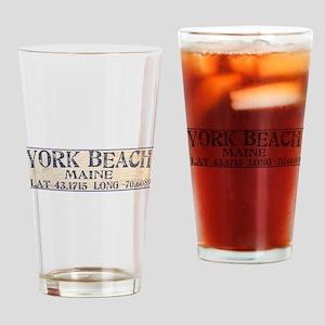 York Beach Lat Long Drinking Glass