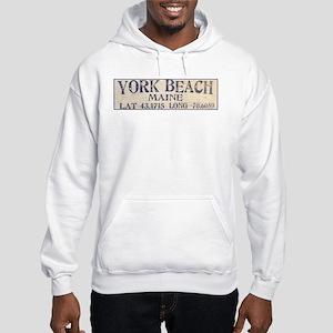 York Beach Lat Long Hoodie