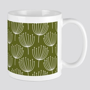 Abstract Dandelions on Green Background Mug