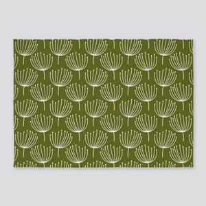 Abstract Dandelions on Green Backgr 5'x7'Area Rug