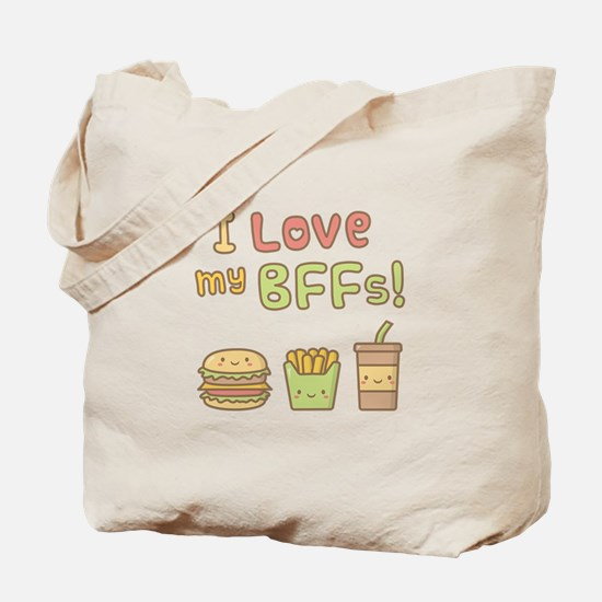 I love my BFFs Food Doodle Humor Tote Bag