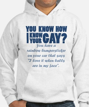 You know how i know your gay? balls Hoodie
