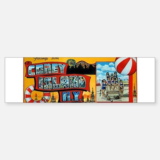 Greetings From Coney Island, N.Y. Bumper Bumper Bumper Sticker