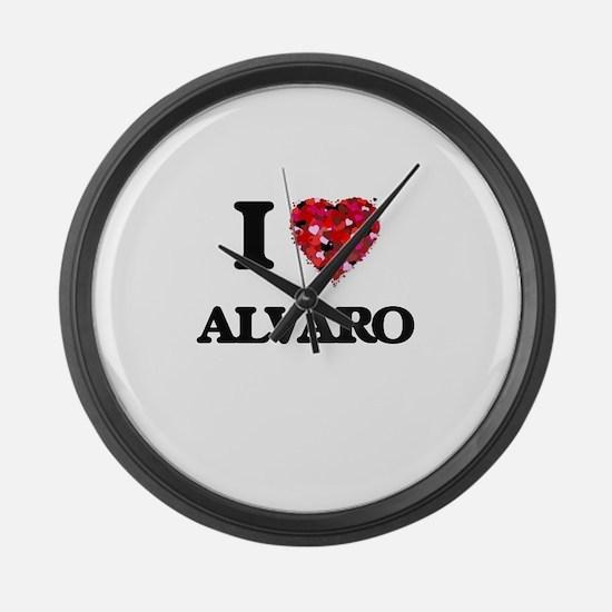 I Love Alvaro Large Wall Clock