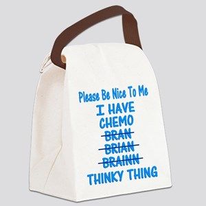 Funny Cancer Chemo Brain Blue Canvas Lunch Bag