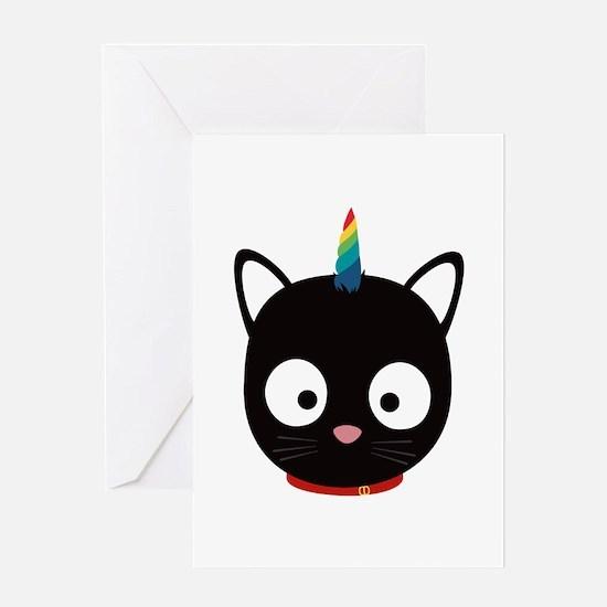 Unicorn Cat with rainbows C0ml8 Greeting Cards