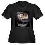 Tesla Univer Women's Plus Size V-Neck Dark T-Shirt