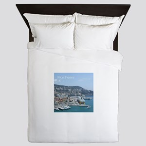 Nice harbor, South of France Queen Duvet