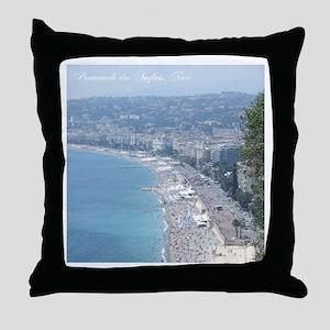 Nice Beach, South of France Throw Pillow
