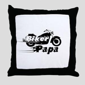 Biker Papa Throw Pillow