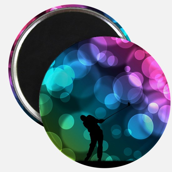 Golfer Driving Bokeh Graphic Magnets