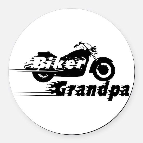 Biker Grandpa Round Car Magnet