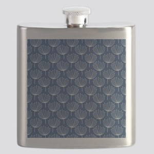 Abstract Dandelions on Dark Blue Background Flask