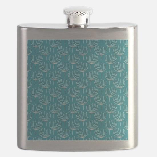 Abstract Dandelions on Crisp Blue Background Flask