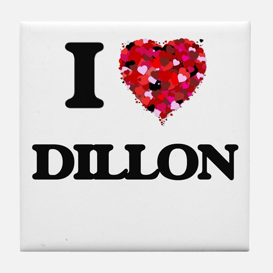 I Love Dillon Tile Coaster