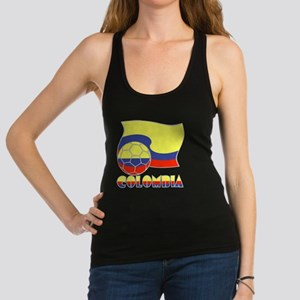 Colombian Soccer Ball and Flag Racerback Tank Top