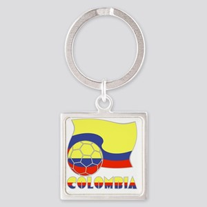 Colombian Soccer Ball and Flag Square Keychain