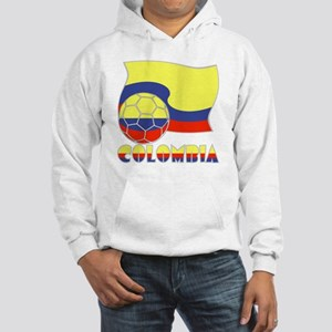 Colombian Soccer Ball and Flag Hooded Sweatshirt