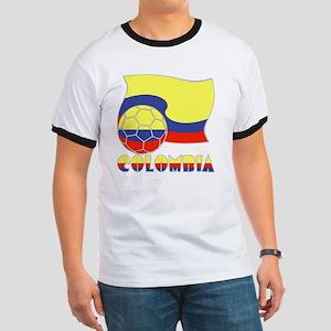 Colombian Soccer Ball and Flag Ringer T