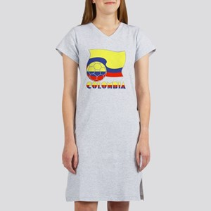 Colombian Soccer Ball and Flag Women's Nightshirt