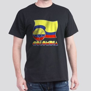 Colombian Soccer Ball and Flag Dark T-Shirt