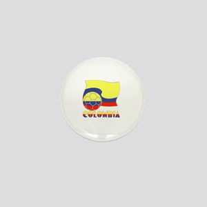 Colombian Soccer Ball and Flag Mini Button