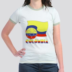 Colombian Soccer Ball and Flag Jr. Ringer T-Shirt
