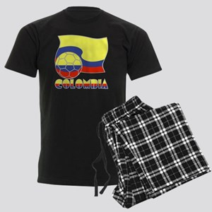 Colombian Soccer Ball and Flag Men's Dark Pajamas
