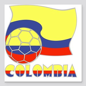 """Colombian Soccer Ball an Square Car Magnet 3"""" x 3"""""""
