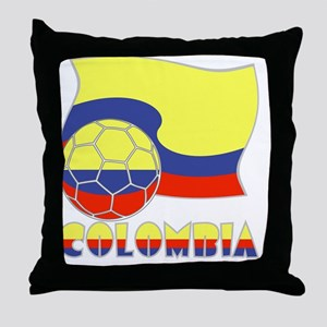 Colombian Soccer Ball and Flag Throw Pillow