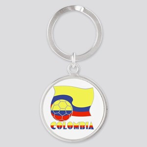 Colombian Soccer Ball and Flag Round Keychain