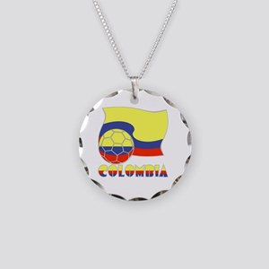 Colombian Soccer Ball and Fl Necklace Circle Charm