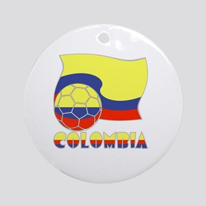Colombian Soccer Ball and Flag Round Ornament