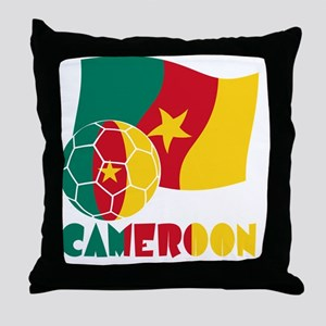 Cameroon Soccer Ball and Flag Throw Pillow
