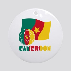 Cameroon Soccer Ball and Flag Round Ornament