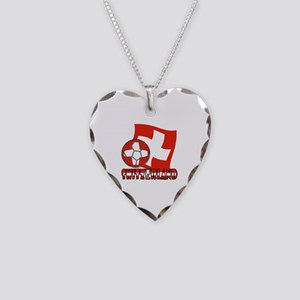 Switzerland Soccer Ball and F Necklace Heart Charm
