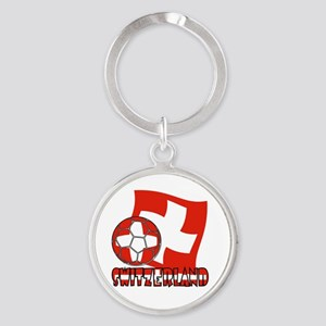 Switzerland Soccer Ball and Flag Round Keychain