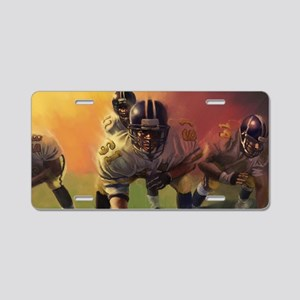 Football Players Painting Aluminum License Plate