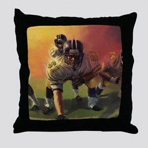 Football Players Painting Throw Pillow