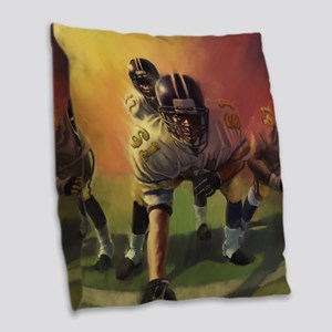 Football Players Painting Burlap Throw Pillow