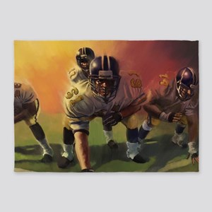 Football Players Painting 5'x7'Area Rug