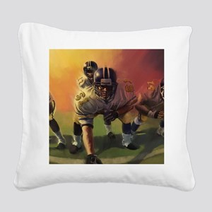 Football Players Painting Square Canvas Pillow