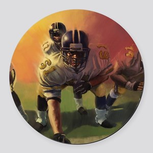 Football Players Painting Round Car Magnet
