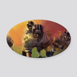 Football Players Painting Oval Car Magnet