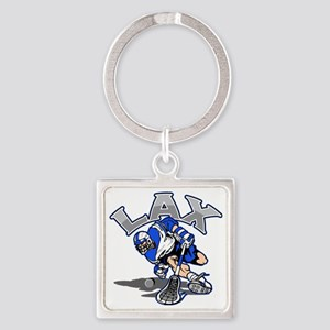 Lacrosse Player In Blue Square Keychain