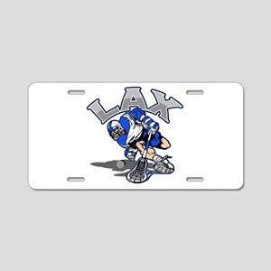 Lacrosse Player In Blue Aluminum License Plate